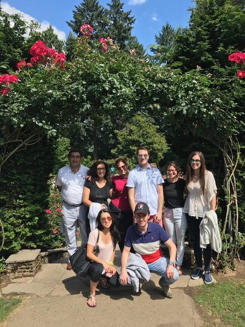 Temple trainees take a break break from the conference to enjoy Portland's beautiful rose gardens.