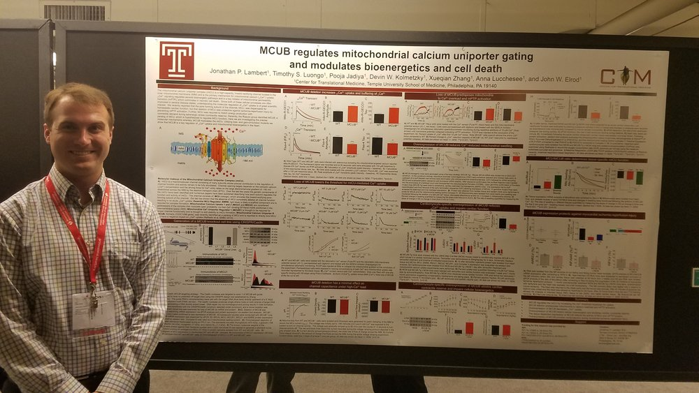 Jonathan presenting his poster on MCUB regulation of mitochondrial calcium uptake.