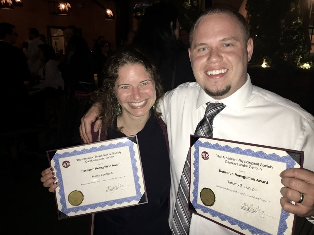 Alyssa and Tim with their APS Research Recognition Awards