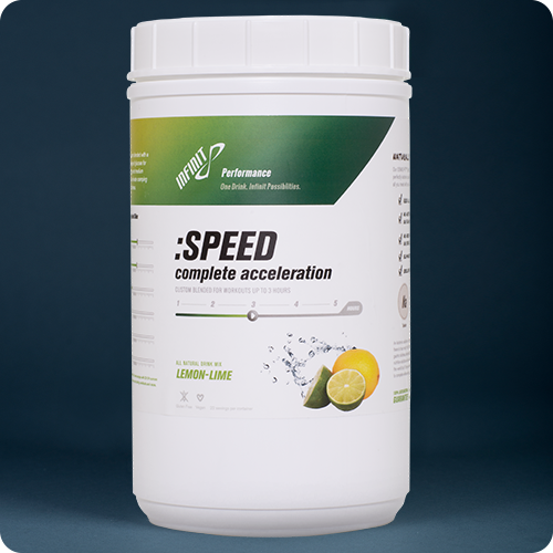 :SPEED - No other product on the market is formulated specifically for the demands of going fast. INFINIT created SPEED (formally the < 2 hr formula) specifically for the lactic acid bath that is SPEED. Higher percentage of INFINIT Glucose for energy with long chain glucose polymers and medium electrolytes eliminate any stomach distress during anaerobic efforts. INFINIT exclusive blend of three carbohydrate sources enables your body to process calories up to 40% more efficiently than other commercially made products available. SPEED tastes great, even warm and will not sour in the heat. Remember, most everything tastes fine while sitting on the couch. The real test is how does it taste long into a workout and after it is warm. If it is not drinkable, you will not get the calories and electrolytes needed to perform your best.  SPEED blends three different carbohydrate sources (maltodextrine, glucose and sucrose) and enables your body to process calories up to 30% more efficiently than other commercially made products available. (Read more about caloric absorption rates. 16,Serving $39,99 1, serving $2.99