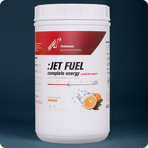 :JET FUEL Highly Caffeinated 1. The act or state rapidly; swiftness; quick motion 2. Swiftness of action. 3. The act of moving rapidly. No other product on the market is formulated specifically for the demands of going really fast. INFINIT created :JET FUEL specifically for the lactic acid bath that is SPEED. Higher percentage of INFINIT Glucose for energy and 125 mg of caffeine for fast absorption rates. Long chain glucose polymers and medium electrolytes eliminate any stomach distress during anaerobic efforts. INFINIT exclusive blend of three carbohydrate sources enables your body to process calories up to 40% more efficiently than other commercially made products available. :JET FUEL tastes great, even warm and will not sour in the heat. Remember, most everything tastes fine while sitting on the couch. The real test is how does it taste long into a workout and after it is warm. If it is not drinkable, you will not get the calories and electrolytes needed to perform your best. :JET FUEL blends three different carbohydrate sources (maltodextrine, glucose and sucrose) and enables your body to process calories up to 30% more efficiently than other commercially made products available. (Read more about caloric absorption rates). : T FUEL's exclusive Electrolyte Blend is composed of Sodium chloride, Potassium chloride, Magnesium gluconate and Calcium gluconal. Developed by INFINIT staff nutritionist Kim Mueller MS, RD., this perfect blend of these essential salts gives the athlete everything they need for racing or training. There is no need to supplement with salt tablets or have to juggle pills while running, paddling or riding your bike. · :JET FUEL has 125 mg of pure pharmaceutical grade caffeine to power you through the hardest workout. :JET FUEL is made with 100% all natural ingredients with zero artificial flavors, sweeteners or colors.  16,Serving $39,99 1, serving $2.99