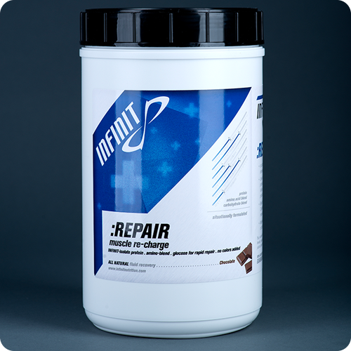 :REPAIR Chocolate INFINIT :REPAIR is formulated specifically to replenish muscle glycogen levels, have a prolonged release of protein in order to maximize repair of damaged muscle tissue, and boost your immune system - all while tasting great! We use quick absorbing all natural casein, soy and whey proteins combined with four different carbohydrates, the amino acids Isoleucine, Valine, Leucine with L-Glutamine and blended with 100% all-natural chocolate flavors with no colors or artificial sweeteners. A blend of 50% casein protein, 25% whey isolate and 25% soy isolate in combination with essential amino acids provides the only post workout drink to supply long lasting time-released recovery for the most effective REPAIR possible. A blends of four different carbohydrate sources (maltodextrine, glucose, sucrose and crystalline fructose) enables your body to process up to 30% more efficientlythan other commercially made products. Blended with only 100% all-natural ingredients with zero artificial flavors, sweeteners or colors.  1 6 Serving $44,99
