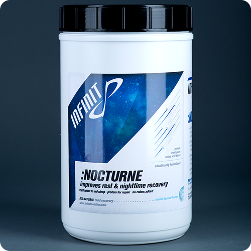 ":NOCTURNE Once again, the market leader INFINIT comes through with the only ""improves rest & nighttime recovery solution"" available on the market. :NOCTURNE is the delicious only all natural custom-blended nighttime recovery solution made specifically for when you sleep! After a long day, enjoy the creamy chocolate flavor and ultra-pure whey protein isolate designed to soothe tired muscles and help you repair overnight. Tryptophan, a natural essential amino acid (long been known to increase the levels of melatonin and serotonin) will actually help lull you to a restful night of deep sleep after a long day of activity. A blend of four different carbohydrate sources (maltodextrin, glucose, sucrose and crystalline fructose) enables your body to process up to 30% more efficiently than other commercially made products. 100% all-natural ingredients with zero artificial flavors, sweeteners or colors. INFINIT Team Tip: Mix with any almond, soy, cow or coconut milk for a delicious way to end your day and recovery while you are asleep. 32 Servings $54.99"