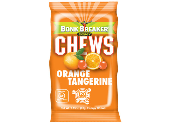 Orange Tangerine Energy Chews Clean. Fuel. Now - non-GMO, Gluten Free, Soy Free, Dairy Free 16 Pouches (60g) per box  Better than the rest, a pouch of Bonk Breaker Orange Tangerine Energy Chews (2 servings/pouch) gives you a blast of energy to recharge your fuel tank with clean, easy digestible & great tasting fuel.  With the perfect texture and craveable flavor, these chews will give you the burst of energy you need to fuel your journey.  Packed with 240 mg of vital electrolytes–significantly higher than the competition– along with 200 Percent Daily Value of Vitamin C, these well-rounded, nutritious gummies will take your performance to the next level when you need fuel NOW.  Fuel Up with Bonk Breaker Chews every 30-45 minutes during exercise or when you need a quick source of energy to Break your Bonk.  Like all of Bonk Breaker's clean, natural, tasty nutrition, we use REAL ingredients that taste great.