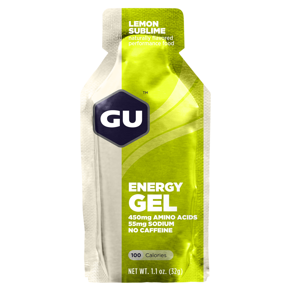 Gel Box Of 24 $34.80 Created for daily training and competition, GU Energy Gel packs energy-dense calories in a portable packet to help sustain energy demands of any duration or activity. The 100-calorie packet contains carbohydrates (maltodextrin and fructose) that use non-competing pathways to help maximize carbohydrate absorption and utilization while diminishing stomach distress. Sodium, the primary electrolyte lost in sweat, aids in hydration by maintaining water balance. The branched-chain amino acids (leucine, valine, isoleucine) may reduce mental fatigue and decrease muscle damage.