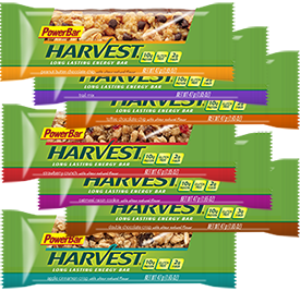 PowerBar Harvest Box Of 20 $33.49 Enjoy a variety of flavors and save money with this convenient Harvest Energy Variety Pack. Includes three bars of each of our seven Harvest Energy flavors, including Apple Cinnamon Crisp, Double Chocolate Crisp, Oatmeal Raisin Cookie, Peanut Butter Chocolate Chip, Strawberry Crunch, Toffee Chocolate Chip and Trail Mix.