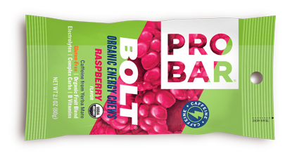 Raspberry Box Of 12 $30 Raspberry Bolt is an energy chew made with real superfruits loaded with electrolytes, complex carbs, B vitamins, and caffeine from Yerba Mate. This tasty chew will launch you to new heights!