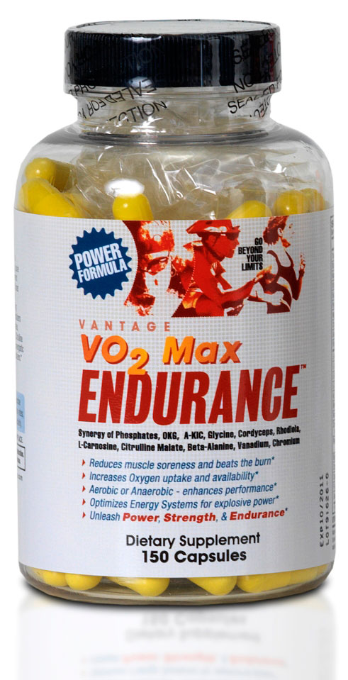 Vo2 Max Endurance Phosphate-Electroyltes, key Aminos, metabolites, and Adaptogens make it a Powerful Ergogenic Aid - For Endurance, Power, and Strength. Use it regularly to Optimize the ATP/CP, lactic acid and anaerobic energy systems;  Extend endurance;  Reduce accumulation of ammonia and other metabolic wastes;  Increase oxygen availability by 12%;  Increase maximal power output by 17%;  Buffer lactic acid build-up;  Elevate anaerobic threshold;  To beat the Burn and prevent (DOMS) Delayed Onset of Muscle Soreness Perfect for phosphate loading. How to use VO2 Max Endurance? As a dietary supplement - take FOUR to FIVE capsules 30 minutes to 45 minutes before exercise activity.  During Activity, (long training rides/runs or races)take TWO to THREE capsules of VANTAGE per hour of activity. For PHOSPHATE LOADING, for FOUR to FIVE days leading up to the race, take FOUR capsules of VO2 Max after breakfast -OR- lunch, each day 5 capsules of  VO2Max + 2 capsules of MOTIVATOR  = ROCKET FUEL