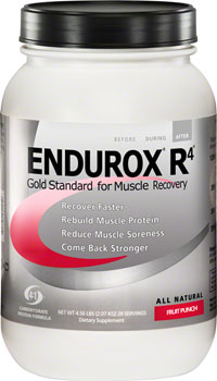 Endurox R4 The only recovery drink with the 4:1 carb to protein ratio, and is proven to reduce muscle damage and increase both muscle function and endurance in a subsequent workout., All Natural Endurox R4 still contains its patented 4:1 ratio of carbs to protein, but now includes both whey and soy protein, which enhances the overall effectiveness of our protein-powered recovery drink. Endurox R4 helps you:  Recover faster,  Rebuild muscle protein, Reduce muscle soreness, Come back stronger Fruit Punch, Tangy-Orange. Lemon-lime, Chocolate, Vanilla.