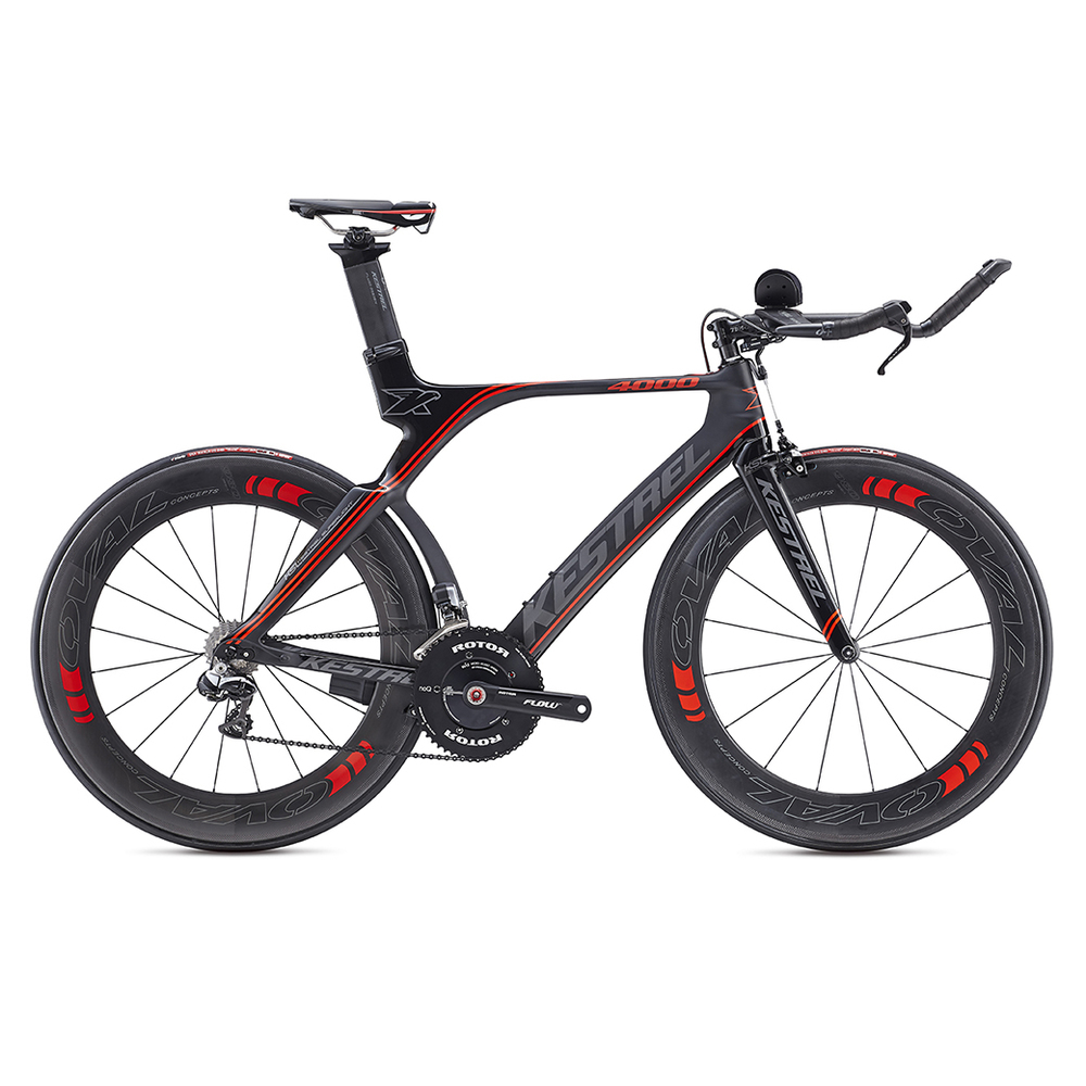 4000 Shimano Dura Ace Di2 MSRP: $6999 All models are constructed of 800K high-modulus carbon fiber: Kestrel's lightest carbon construction used only on SL (Super Light) models. Kestrel's 800K carbon uses inner polyurethane molds in high-stress areas such as the BB shell and head tube to minimize wrinkles in the carbon layers for greater compaction and stiffness to ensure the lightest and strongest frame possible. Geometry is ideal for the demands of long-distance triathlons; a slightly taller head tube allows for a more upright position to keep the legs fresh and strong for the run. Oval Concepts handlebar and stem use a traditional interface that doesn't require any special proprietary tools, allowing for easy adjustment and customization. Designed in the A2 Wind Tunnel, the stays, seat post, and seat tube are aerodynamically contoured; plus, fully internal cable routing ensures clean airflow over the entire bike,New rear stays are shaped to fit all the commonly available deep-dish and disc wheels, while preserving aerodynamics. New vertical dropouts allow for easy wheel changes and combine a secure hold with 8mm of fore-aft aerodynamic adjustability. TRP 920 Forged Aero Center Pull braking system offers reliable stopping power and excellent aerodynamics,Kestrel EMS Pro Aero Seatpost allows for the saddle to be mounted in a wide range of positions.Each of the six sizes has unique tube lengths, diameters, shapes, and carbon layups to produce the best possible ride quality for every size rider. The Shimano Ultegra model's 47cm uses 650C wheels to avoid toe overlap.