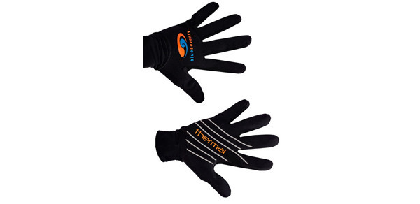 Thermal Swim Gloves    Price $45   We've improved our popular Swim Glove by dropping the webbing for a natural feel of the water and made it warmer by adding a metal cell liner that stops water absorption and maximizes warmth. A longer length cuff prevents water entry and increases warmth at the wrists. A great open water specific training tool that will also keep your fingers dry in foul bike riding weather. Available in 2 sizes.