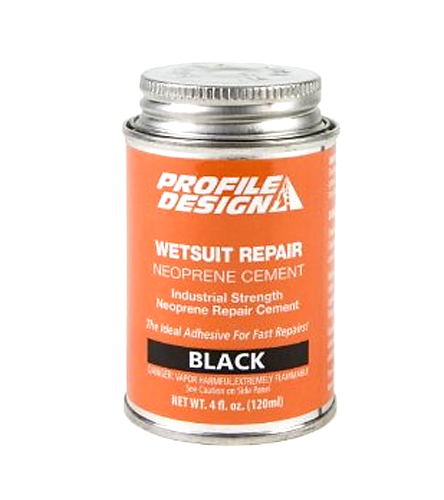 Neoprene Cement Repair and maintain your wetsuit by sealing holes and tears with the Profile Design Wetsuit Seal Cement 4oz Can. Wetsuit Seal Cement  Black., Quick, simple for fingernail tears and holes.