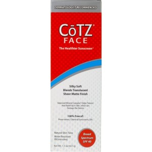 CōTZ FACE, for Natural Skin Tones, SPF 40 Cosmetically-elegant for Fair, Medium & Dark skin tones. A Balanced & Natural Mineral Complex with Zinc Oxide & Titanium Dioxide that feels silky & soft and blends translucent, with a sheer matte finish. Lightly tinted to instantly enhance skin radiance. Non-Comedogenic, Hypo-Allergenic. Superior protection against sun-accelerated fine-lines, wrinkles and dark spots has never felt this nice. If your skin has a Light to Fair Tone, select CoTZ Face for Lighter Skin Tones