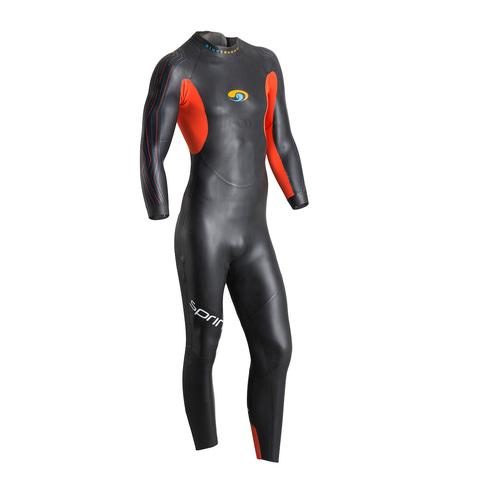 Sprint Full Suit    Price $200   The Sprint ups the ante of what an entry-level wetsuit should be. We studied the competition. We spoke to beginners and seasoned athletes. We moved seam lines, added buoyancy, improved flexibility and added some exciting features not available in the rest of our wetsuit line. The result is a suit that sets the standard for how an athlete's first wetsuit should fit, perform and feel. Because how you feel out in the open water is everything.