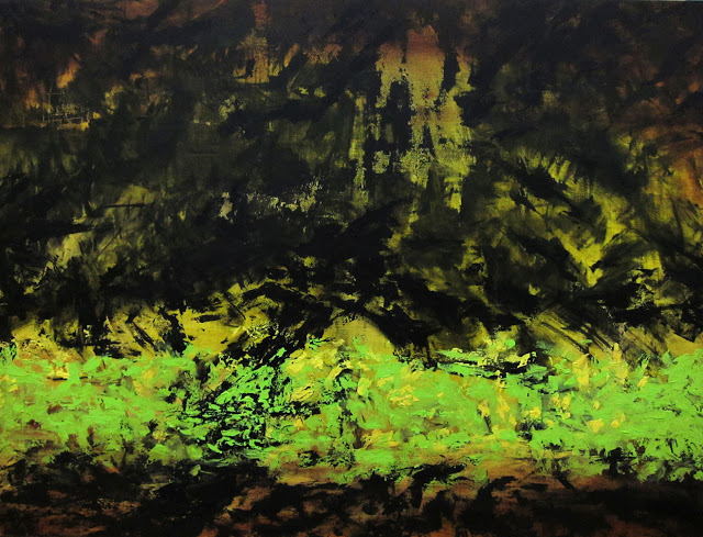 "I Can See The Pines Are Dancing, Oil and acrylic on canvas, 48"" x 36"", 2012"