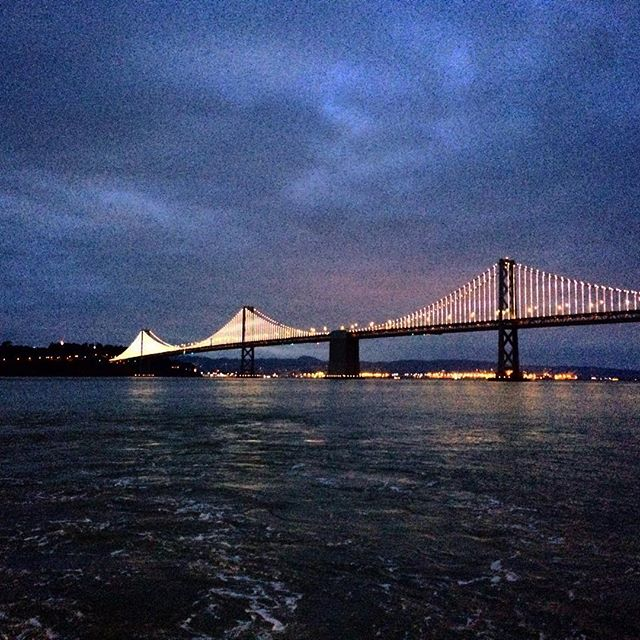 The 7 am conference call commuting is getting darker, but still magical!  #baybridge #bayarea #twilight #morning #commute #design #structure #architecture #wakeup #wakeuphappy #morninglight