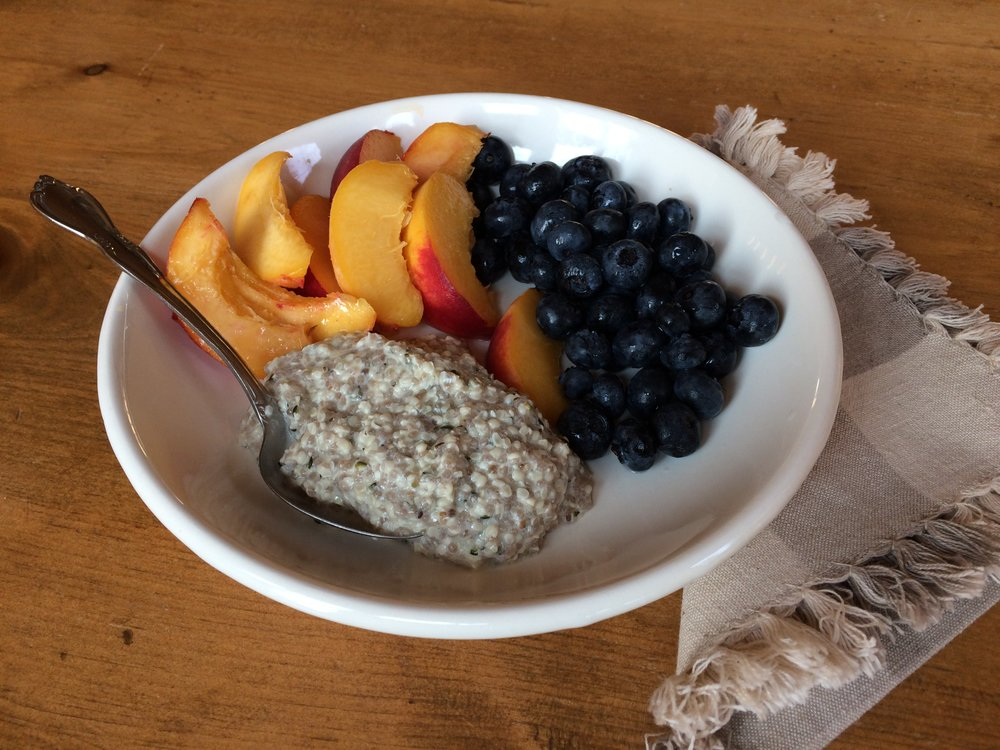 I don't need to sweeten my hemp seed porridge when I add seasonal fruit, but my daughter likes hers sweetened.