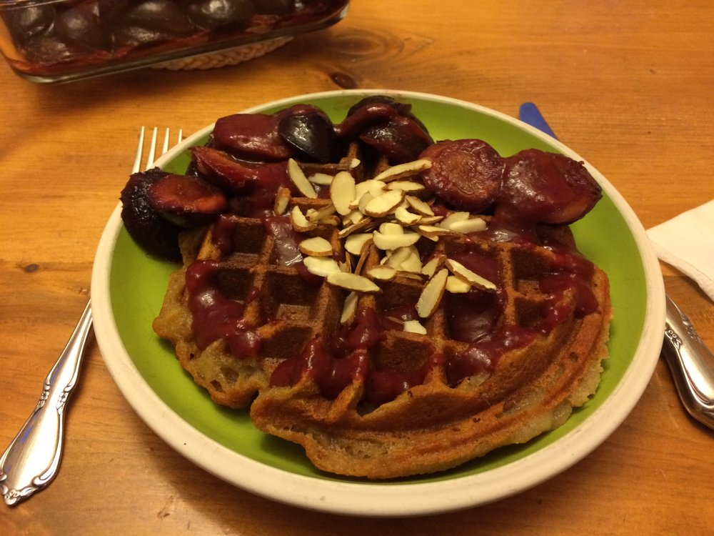 My son made these amazing waffles while I baked some plums.