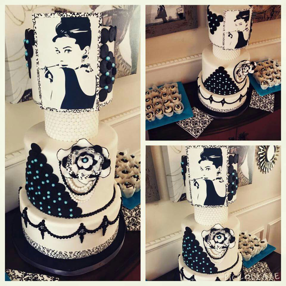 This is obviously an Audrey Hepbourne inspired cake creation.
