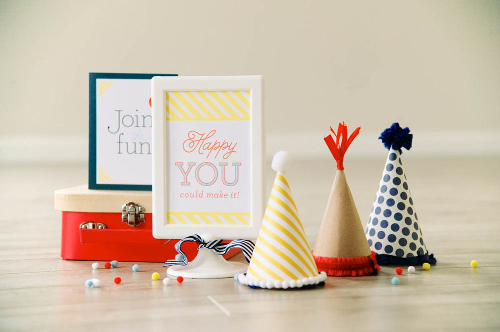 A few adorable birthday hats made to perfectly coordinate!
