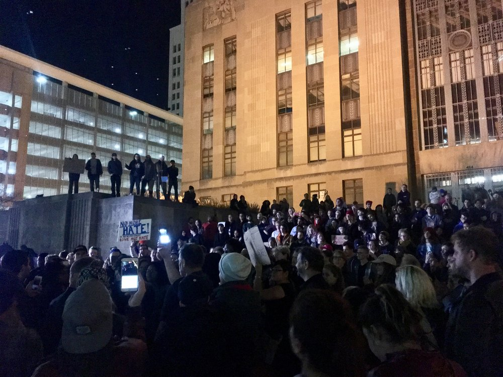Kansas City residents protest the election of Donald Trump on November 9th.
