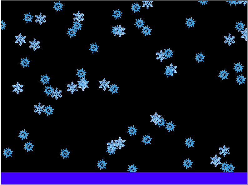 A winter snowfall scene (with a layer of blue snow on the ground, which grows deeper as the program runs).