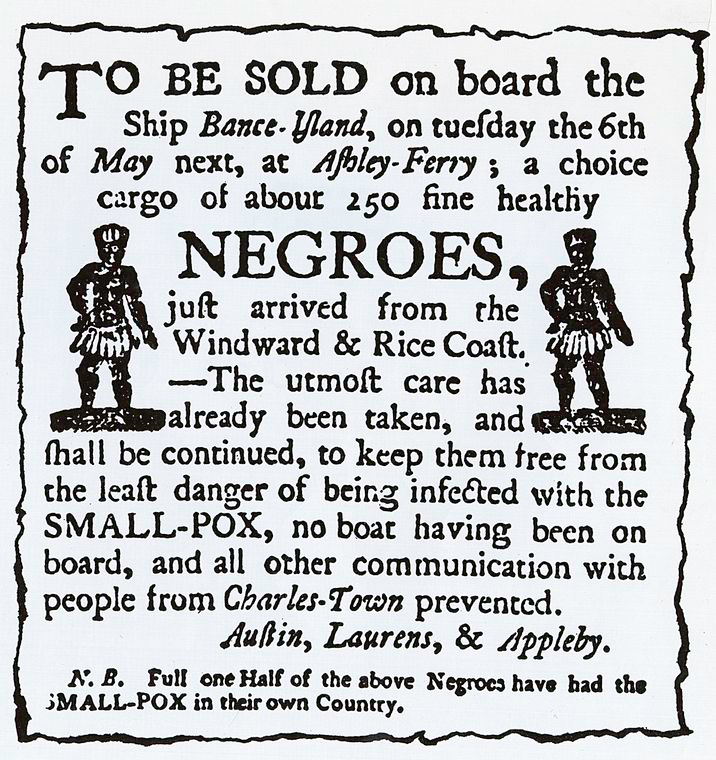 Newspaper advertisement, Charleston, South Carolina (c. 1780s). Source: Schomburg Center for Research in Black Culture