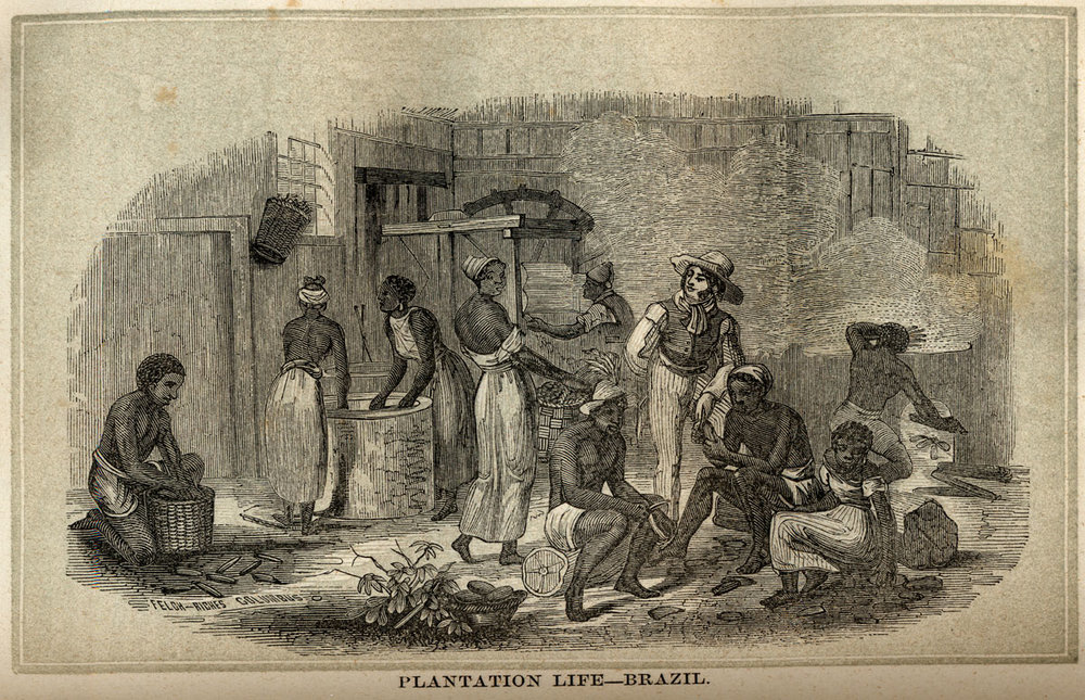 A scene of slaves processing manioc (cassava) from  The History of Slavery and the Slave Trade  by William Blake (1862). Source:  slaveryimages.org