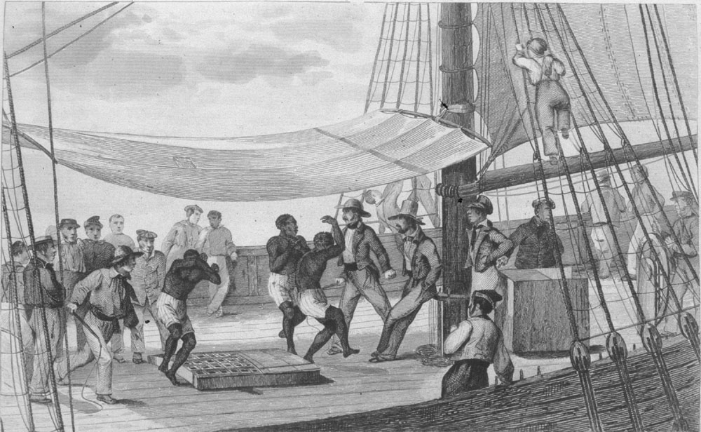 Illustration of Africans forced to dance on the deck of a slave ship, published in 1837. Source:  slaveryimages.org