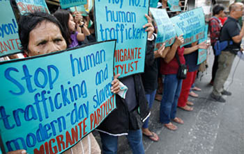 A demonstration against human trafficking. Source:  un.org