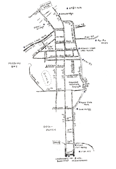 A hand-drawn map for the Mission Bay/Dogpatch tour