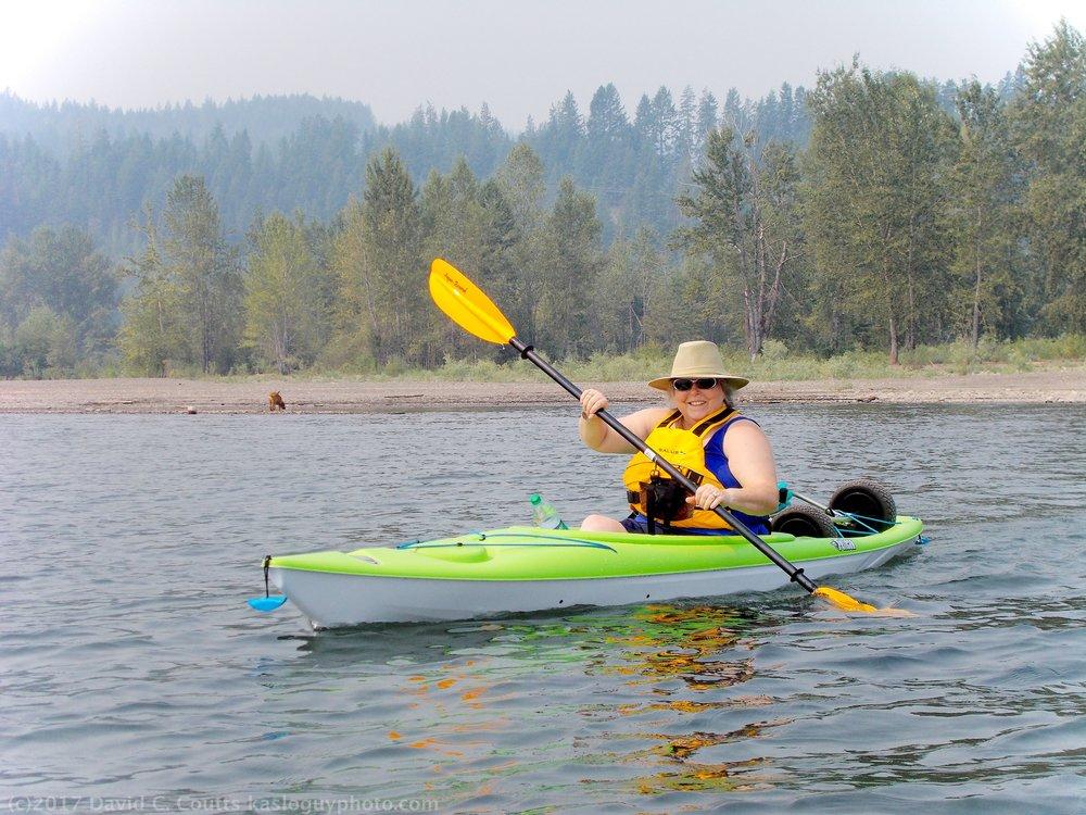 Kayaking on Kootenay Lake, Kaslo, BC. Canada