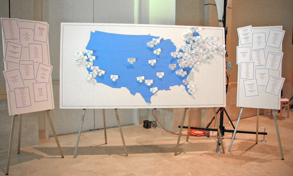 "This large-scale map was created for ""The Purpose Prize"" and enabled participants to easily locate and connect with others from their region."