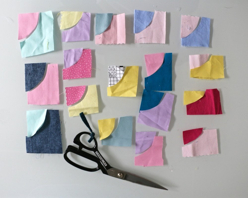 Tiny Improv Curved quilt blocks