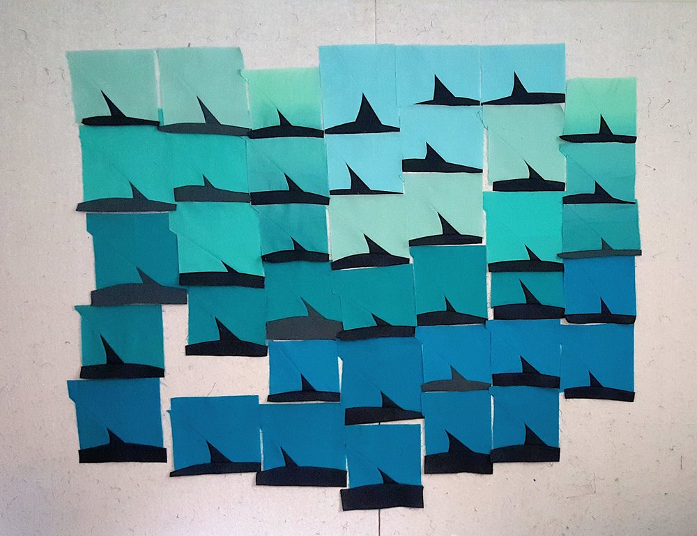 Improv quilt from Shark Week