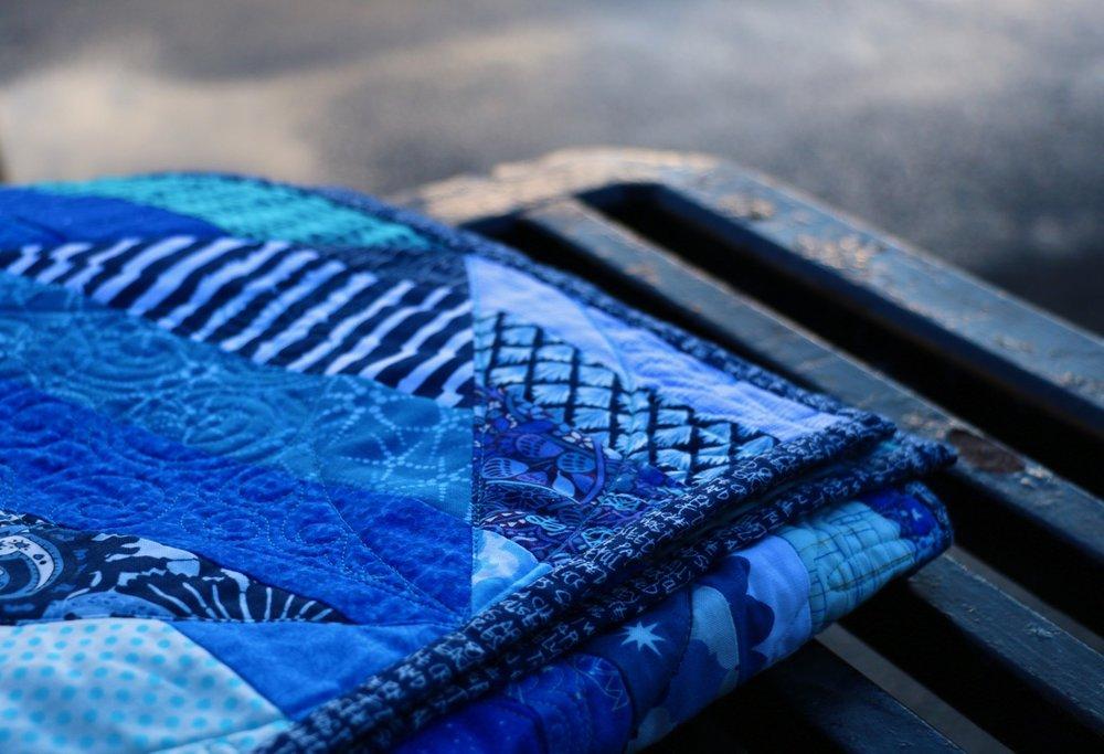 Blue Gala Quilt Binding Carolyn Friedlander Archtextures.