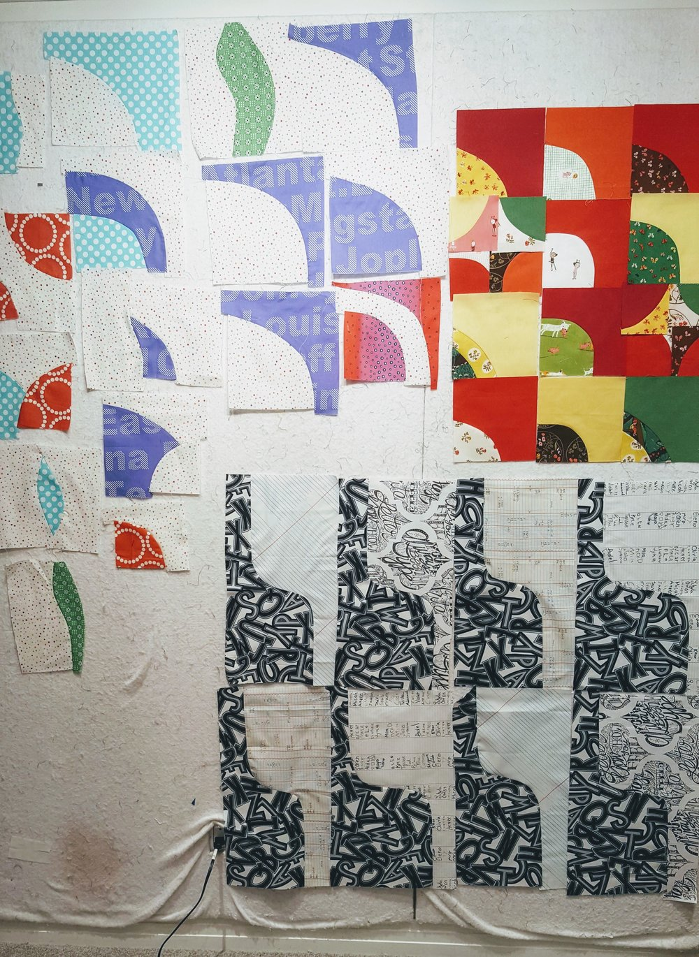 Quilt Design Wall Improv Curves