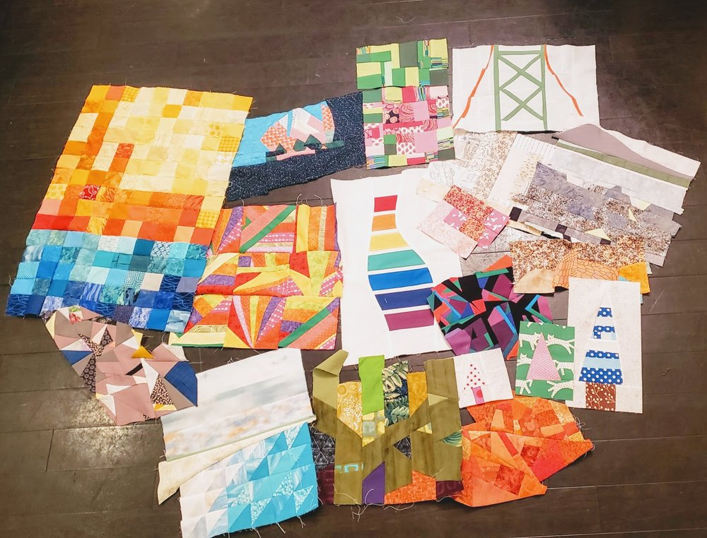 The work of the Maritime Modern Quilt Guild in the Improv With Intent class