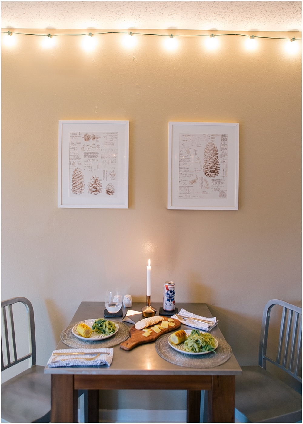 Table, plates, flatware & place mats:  West Elm  / Candle holders:  H&M Home