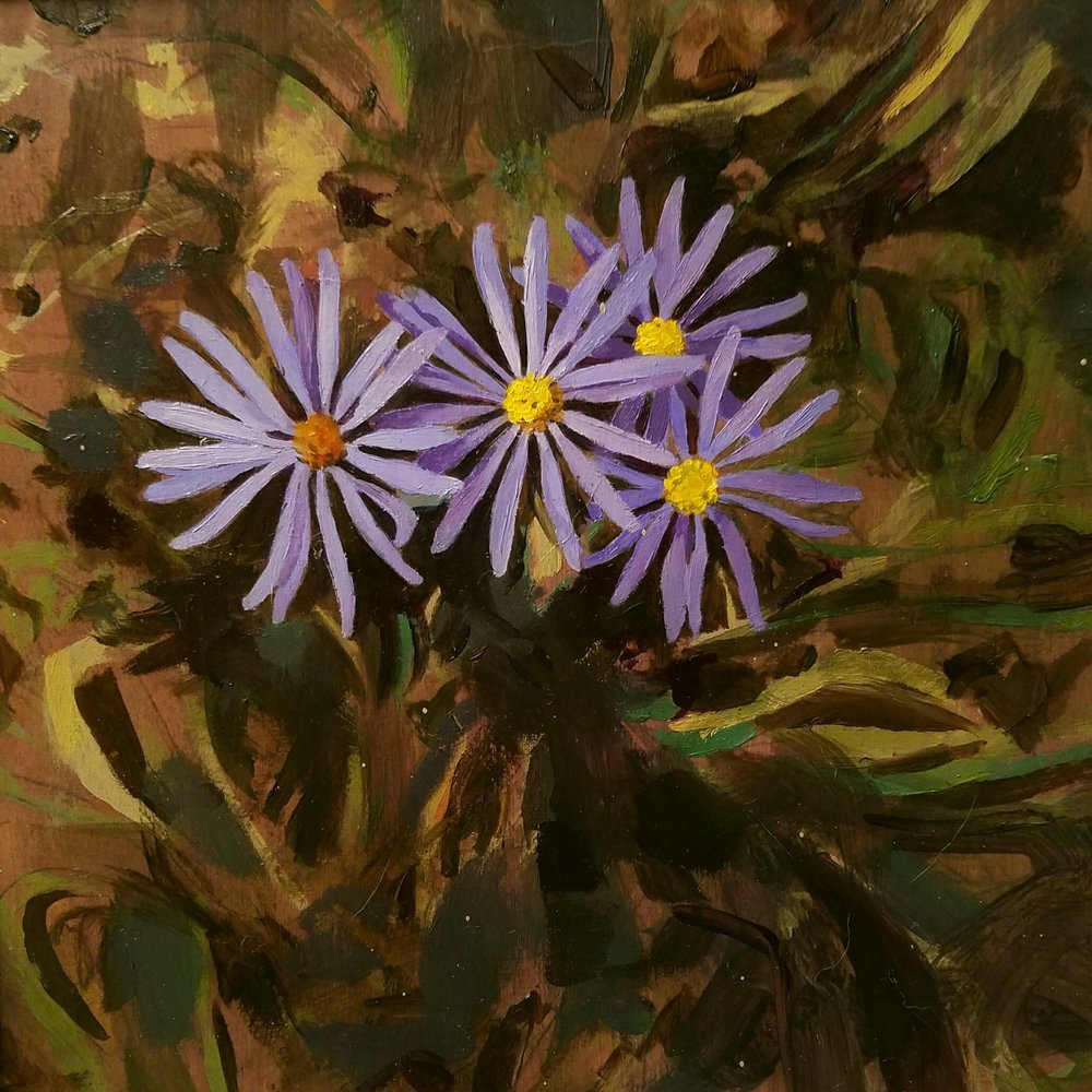 """Summer Cluster"", oil on wood, 8""x 8"", $250"