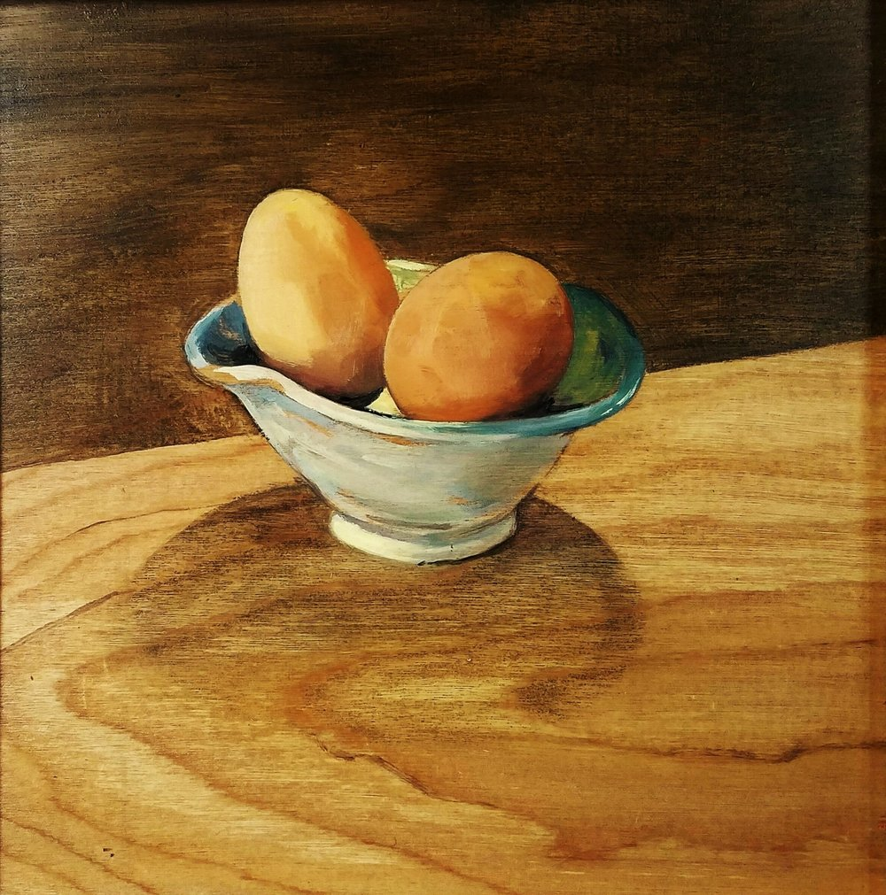 """Firsts"", oil on wood, 8""x 8"", $325"