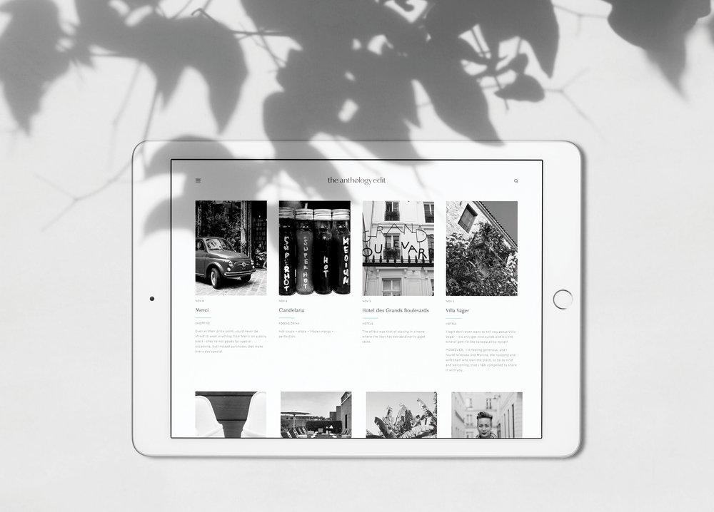 Blog identity and webdesign for  The Anthology Edit