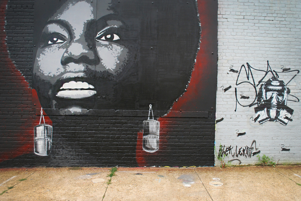 Nina Simone mural by Australian stencil artist Damien Mitchell and gas mask piece by Blek Le Rat.