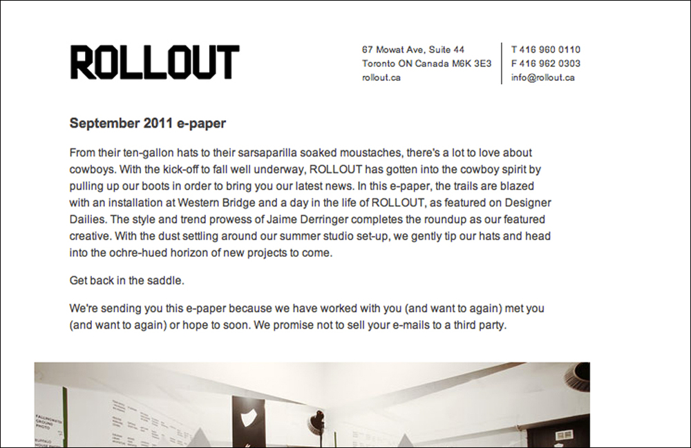 Marketing Copy - concepts and writing for these themed e-papers for the clients of ROLLOUT, a Toronto-based design firm.