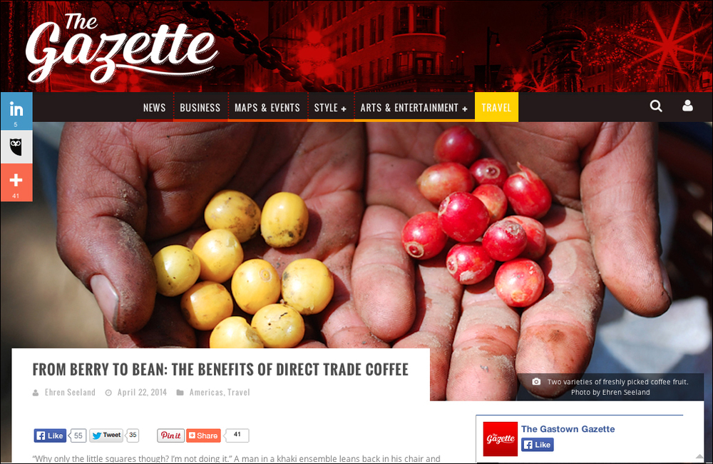 Travel Writing and Photography - special focus around social enterprise, including direct trade coffee in Guatemala for this piece.