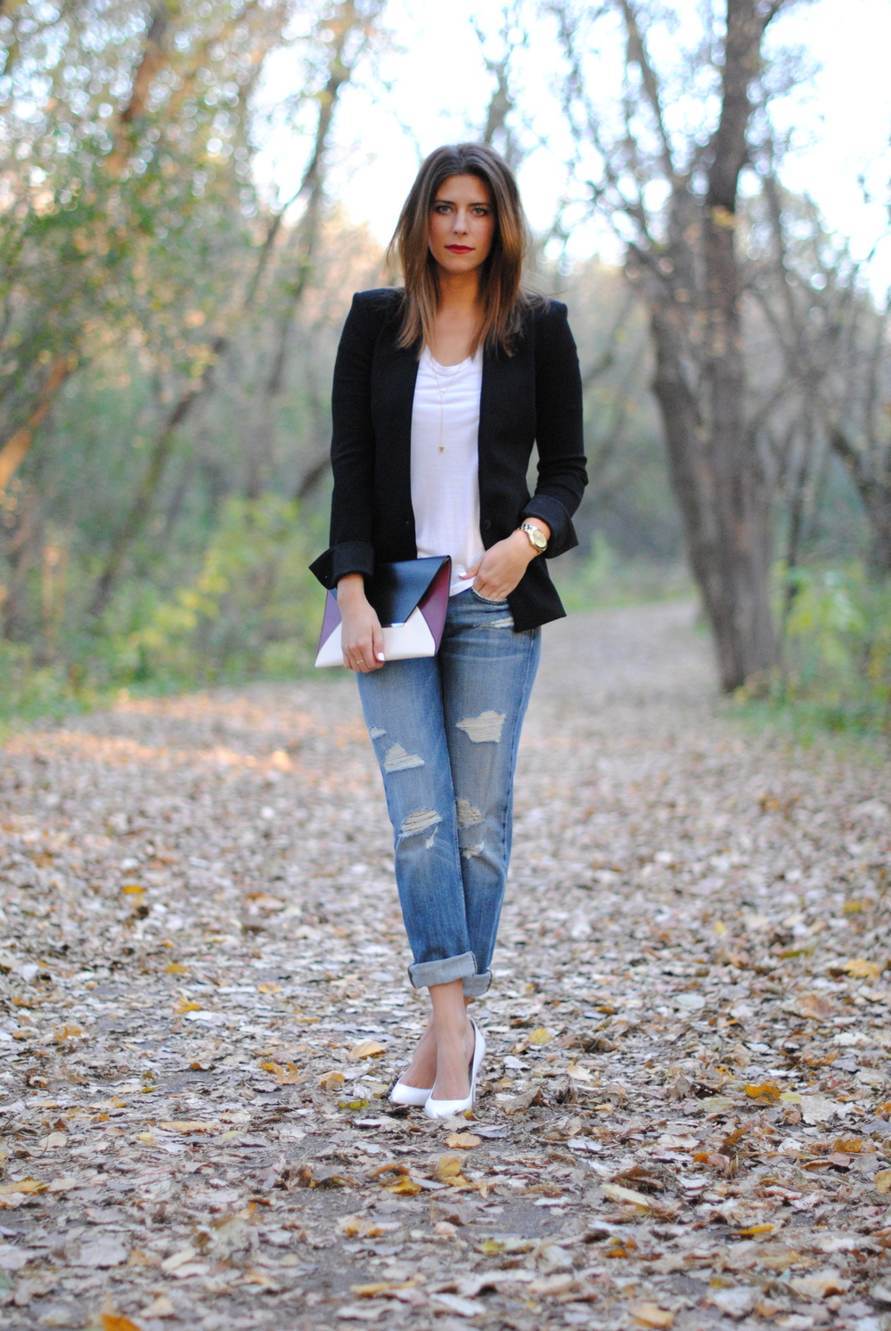 Helmut Lang blazer  Helmut Lang t shirt Boyfriend jeans Topshop pumps, similar here and here BCBG clutch, similar here Lariat necklace Michael Kors watch