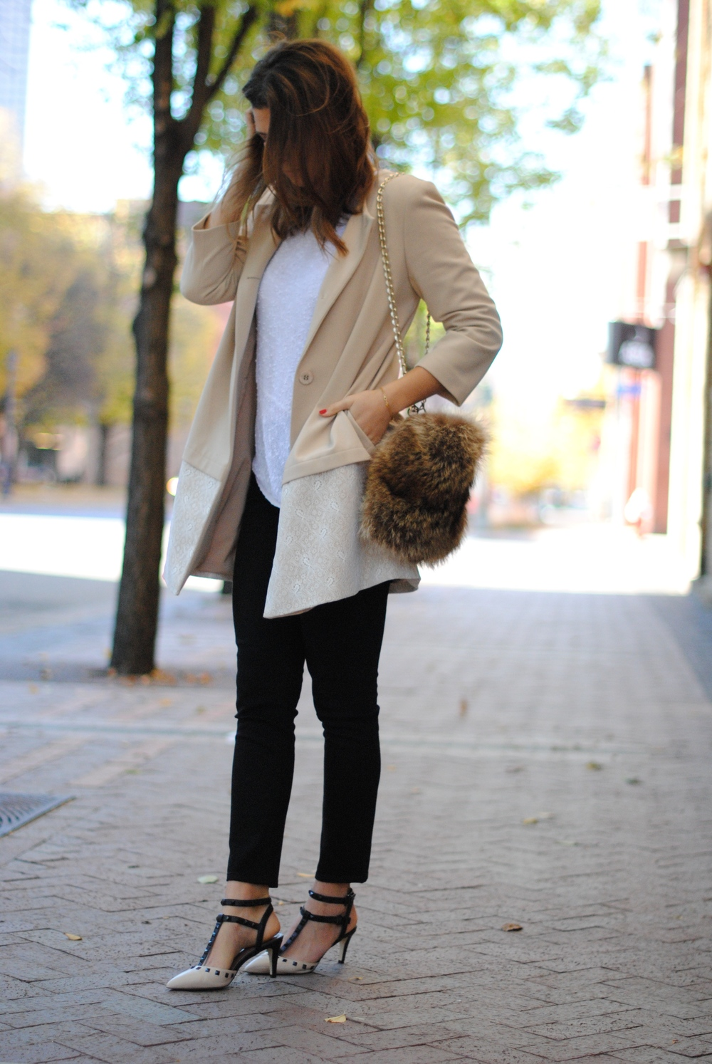 Nordstrom coat, alternative  here   Club Monaco sweater, alternative  here    J. Crew jeans    Slingbacks , Valentino's  here   Vintage fur purse  Gorjana bracelet, alternative  here