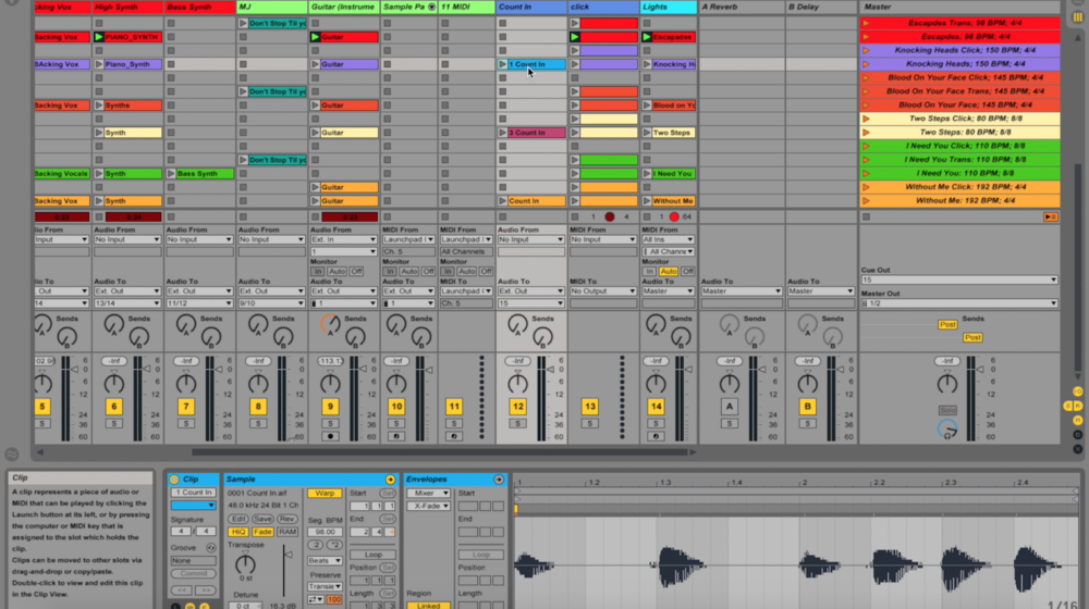 In ear Backing Tracks Count in Click Ableton Live