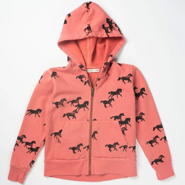 bobo choses hooded zip sweatshirt – horses