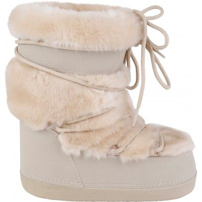 CHLOÉ Faux Fur Boots in Sand via  Smallable